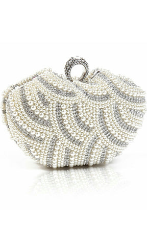 Beaded Crystal Ring Clasp Closure Evening Clutch