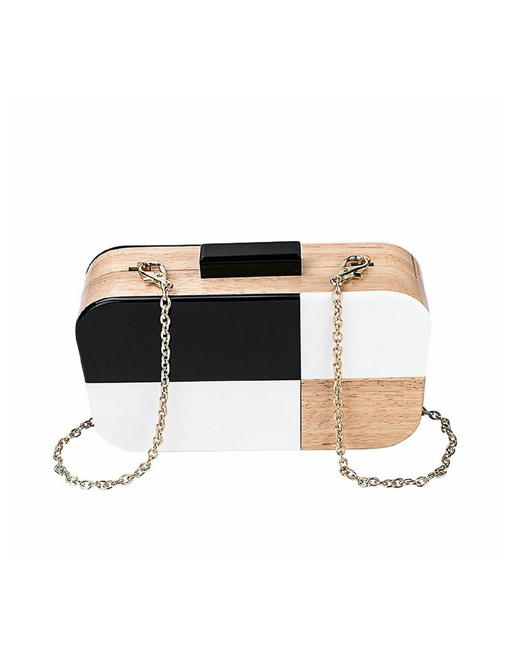 Acrylic Wood Color Block Evening Clutch