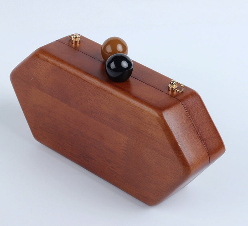 Wood Evening Clutch- Hexagon shape (dark brown)
