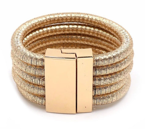 Five-layered coil-style BRACELET (Black, Yellow Gold, Rose Gold, Red, Royal Blue)