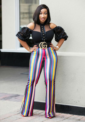 Iris Beauty- High Waist Multicolor Stripe Pants