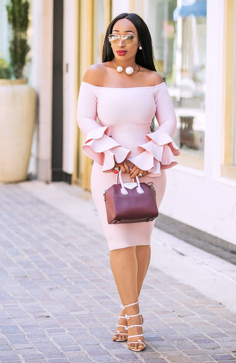 Reina- Layer Ruffle Sleeve Bandage Dress