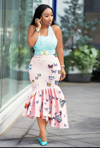 Flutter Beauty- Fit and Flare Asymmetrical Midi Skirt
