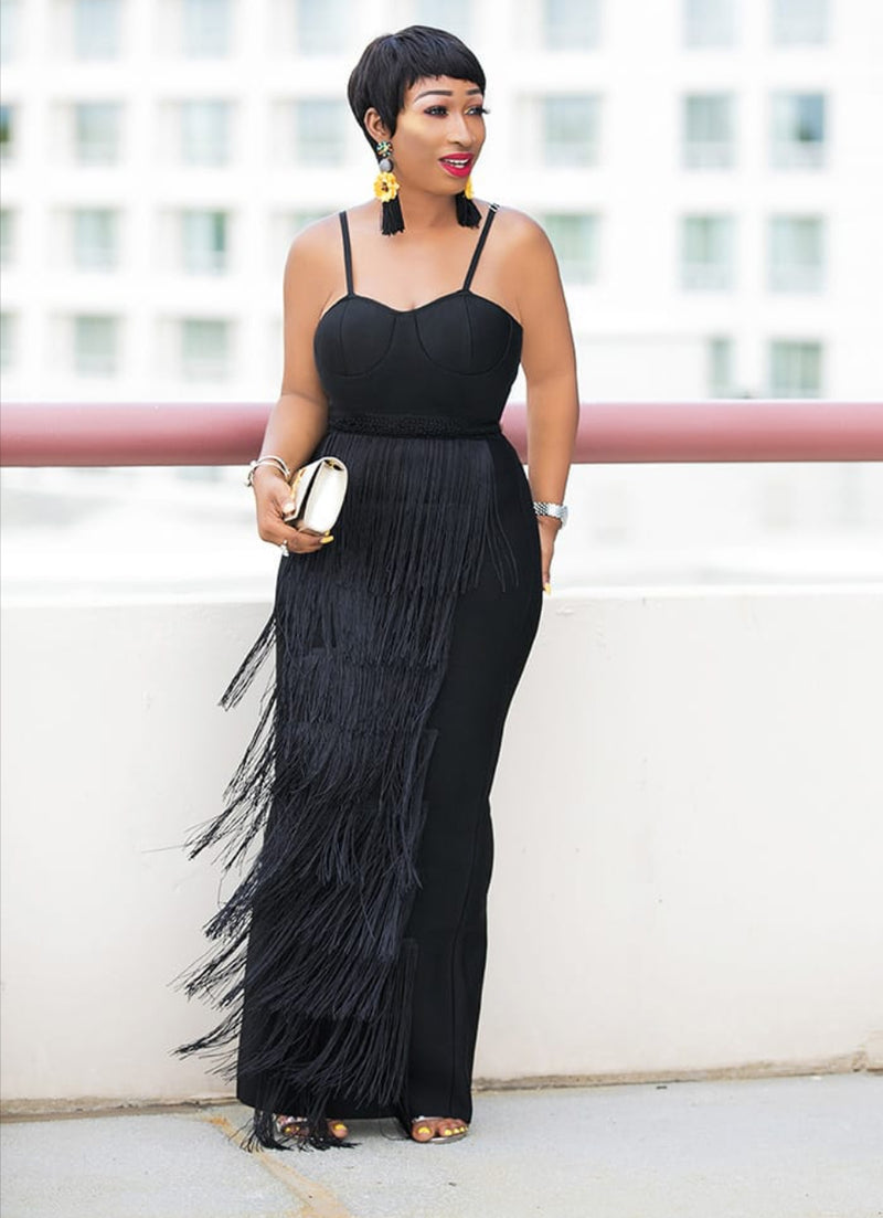 Fringed Ebony- Ankle/Floor Length Dress