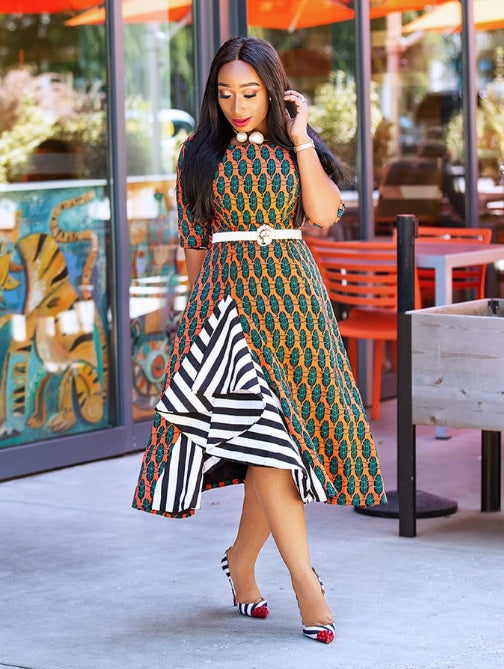 Bola- Ankara Dress with Stripe detail (Final Sale! No Return! No Exchange)