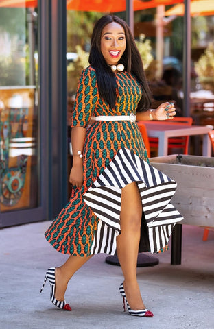 Bola- Ankara Dress with Stripe detail
