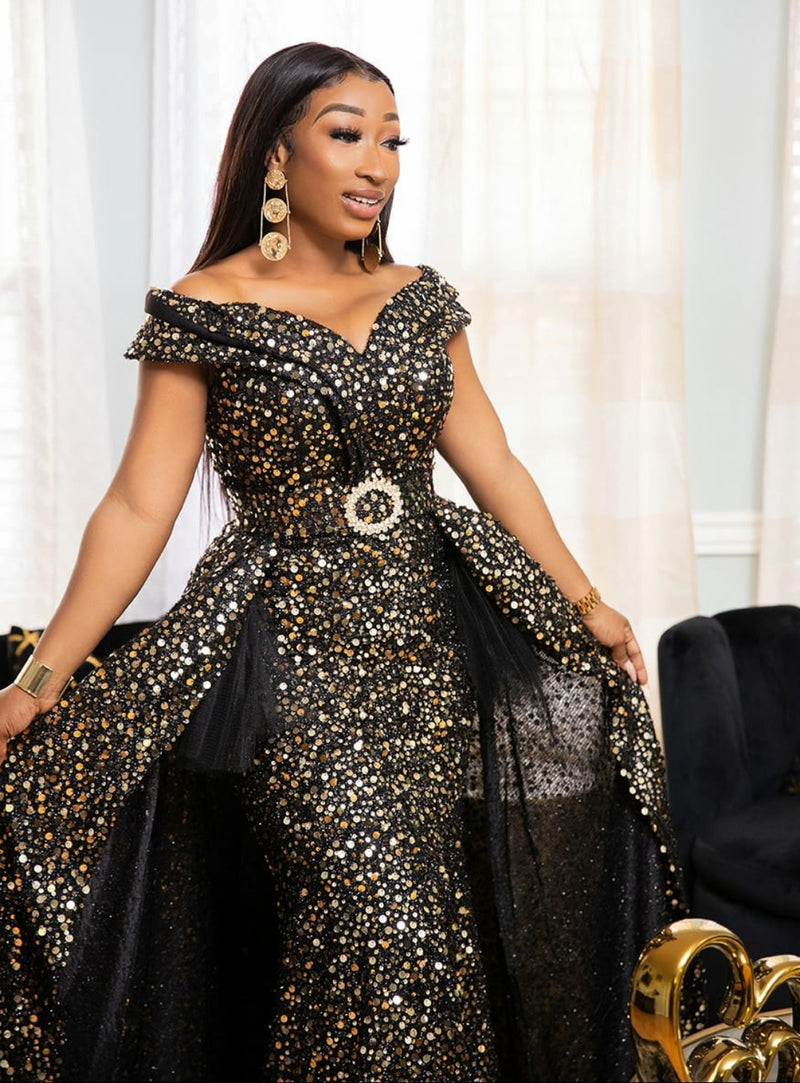 Goldiva Luxe- Sequin Ball Dress (New)