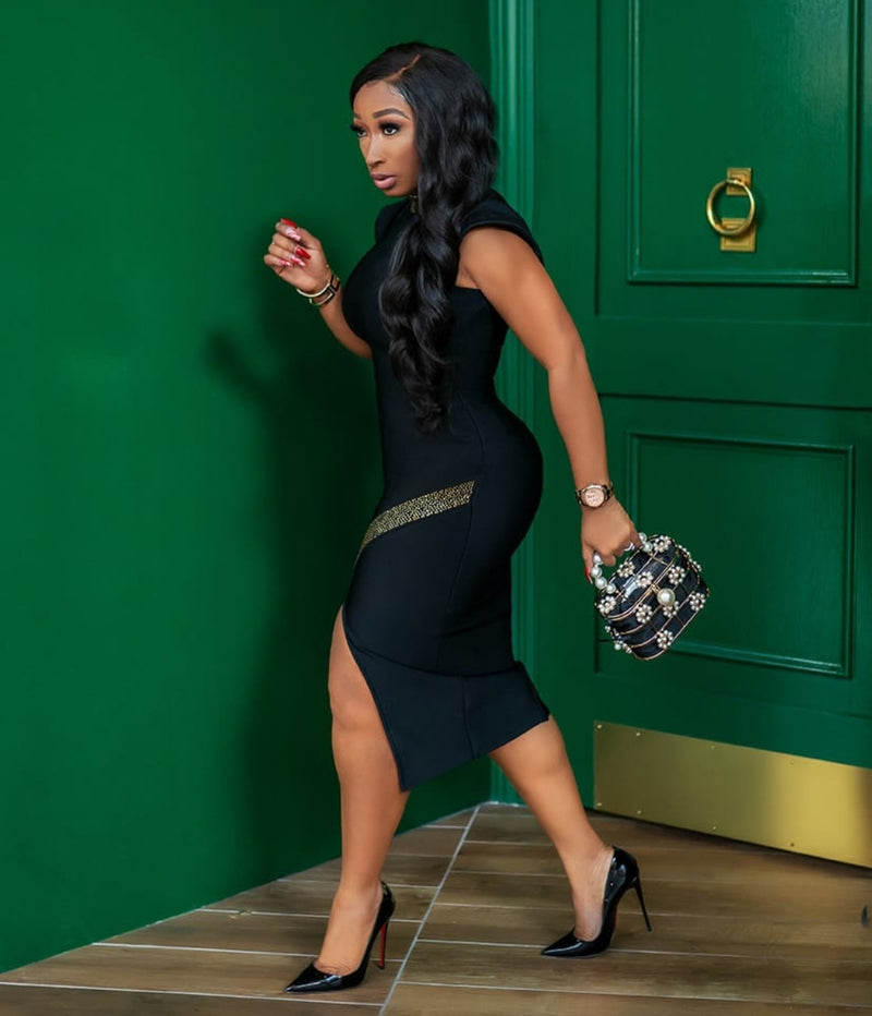 Onyx Elegance- High Slit Rhinestone Bandage Dress