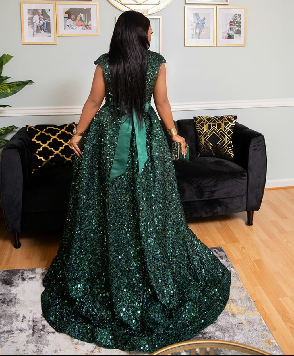 Paradise Green Luxe- Sequin Ball Dress (New)