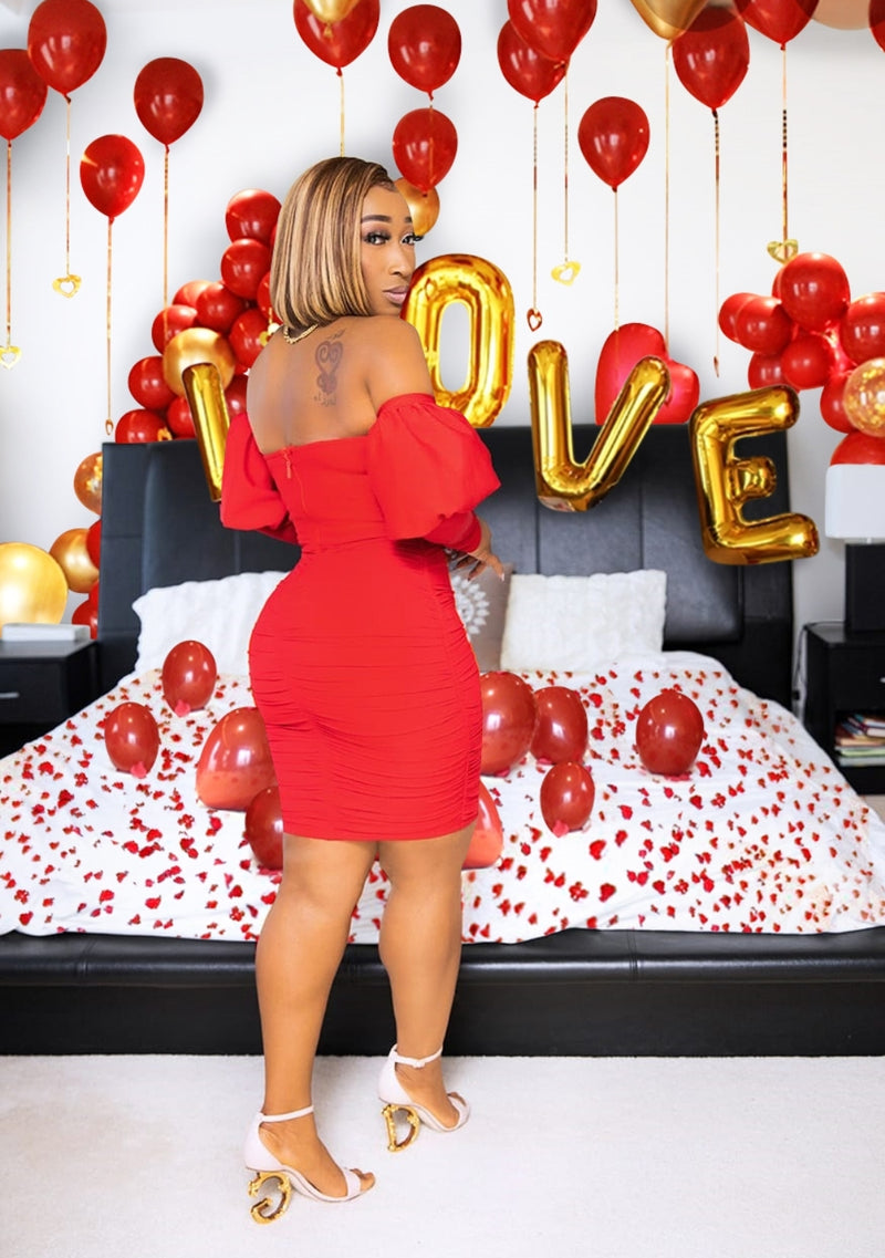 Roses Are Red- Mesh Overlay Bandage Dress (NEW)