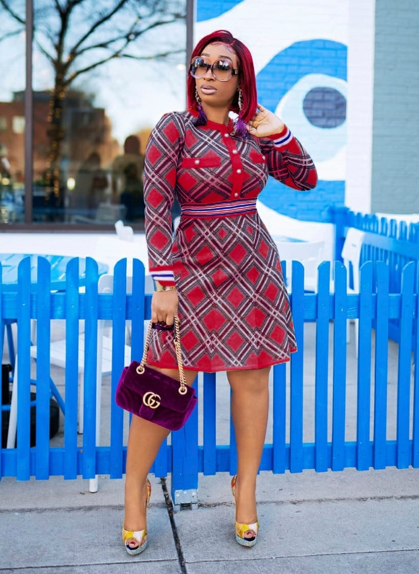 Uptown Babe- Plaid Sweater Skater Dress