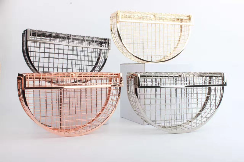 Luna- Statement Hollow Metal Half Moon Cage Party Clutch
