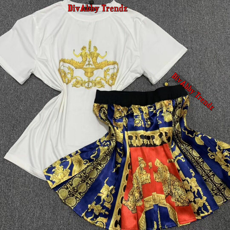 Naomi- 2pcs T-Shirt and Skater Skirt Set (New)