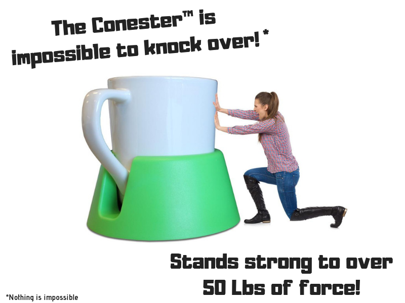 A girl tries to push over a giant Conester coaster. It's impossible to knock over.