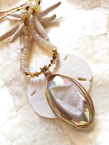 Drusy Crystal Necklace with Opal Strand  #158 - Moonbow Tropics