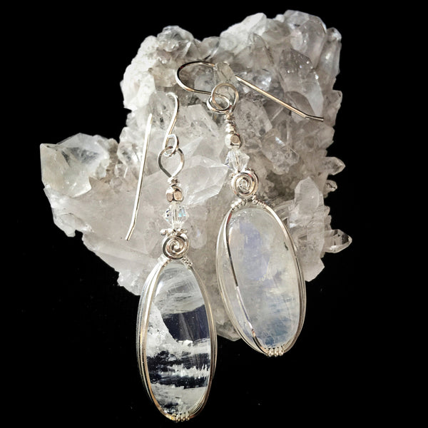 RAINBOW MOONSTONE  EARRINGS #165