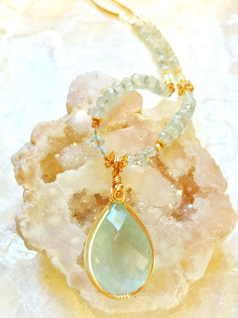 Drusy with Aquamarine Strand Necklace #177