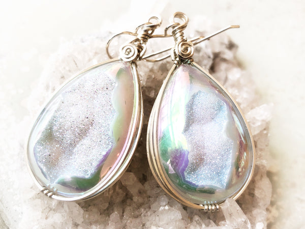 Drusy Crystal Earrings #213 set in silver - Moonbow Tropics