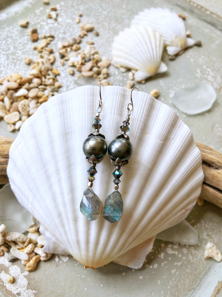 BLACK TAHITIAN PEARL EARRINGS $275 - Moonbow Tropics