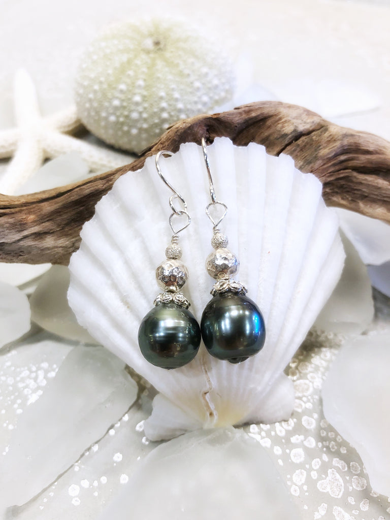 BLACK TAHITIAN PEARL EARRINGS $200 - Moonbow Tropics