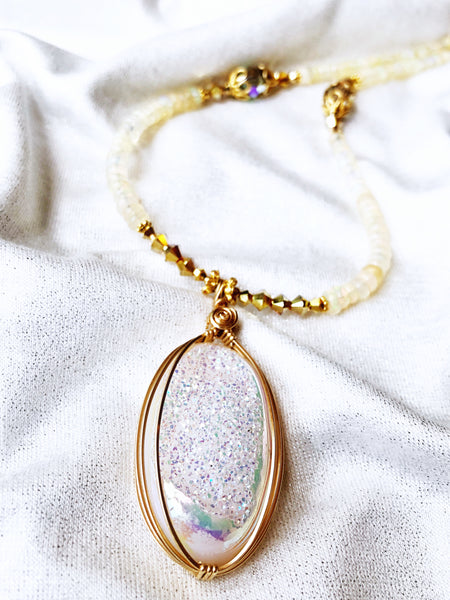 Drusy Crystal Necklace with Rainbow Moonstone #215 - Moonbow Tropics