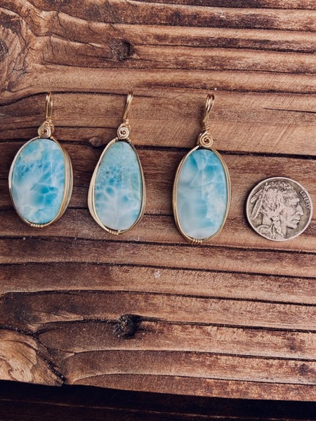 High grade Larimar stone gold wrapped pendant. - Moonbow Tropics