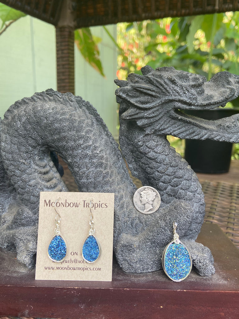 Drusy crystal matching earring and pendant set - Moonbow Tropics