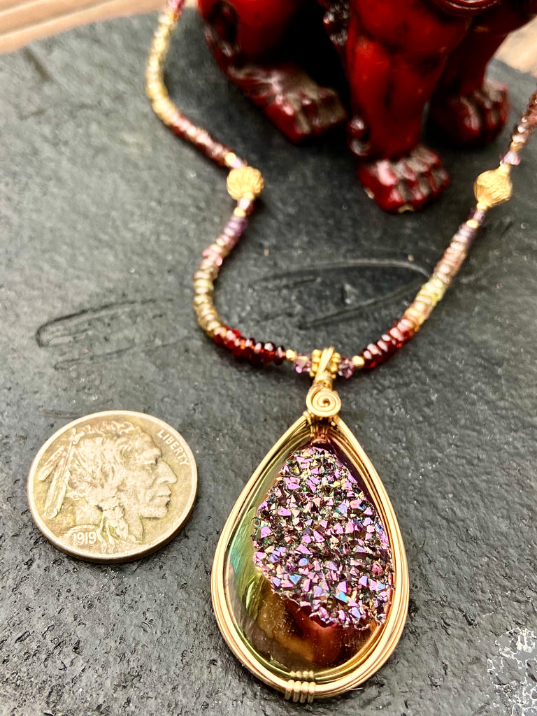 Majestic purple gold. wrapped drusy with Faceted. rainbow spinel - Moonbow Tropics