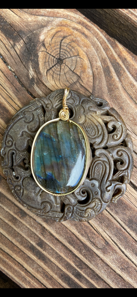 Spectralite gold wrapped pendant - Moonbow Tropics