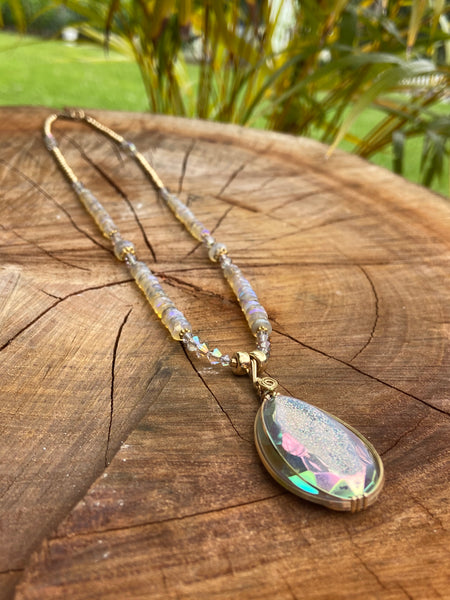 delicate beautiful opalescent golden drusy with rainbow opals and SwarovskiCrystal in Gold - Moonbow Tropics