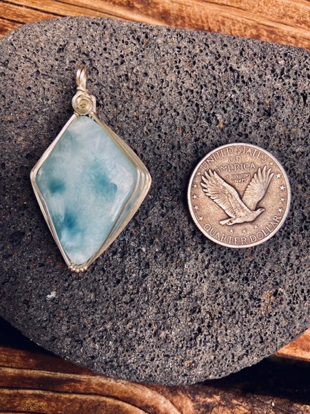 Larimar Sterling silver  wrapped pendant. - Moonbow Tropics