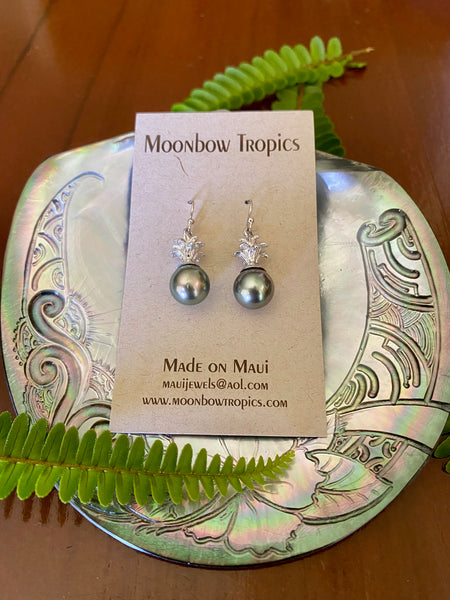 BLACK TAHITIAN PINEAPPLE PEARL EARRINGS - Moonbow Tropics