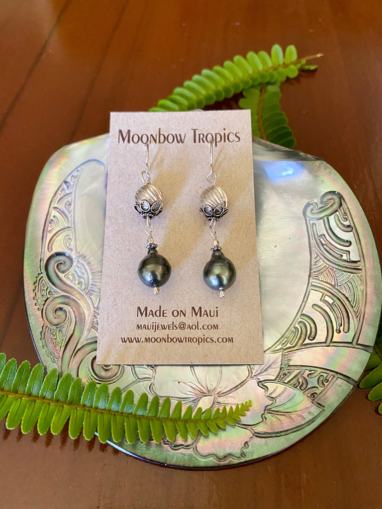 BLACK TAHITIAN PEARL EARRINGS - Moonbow Tropics