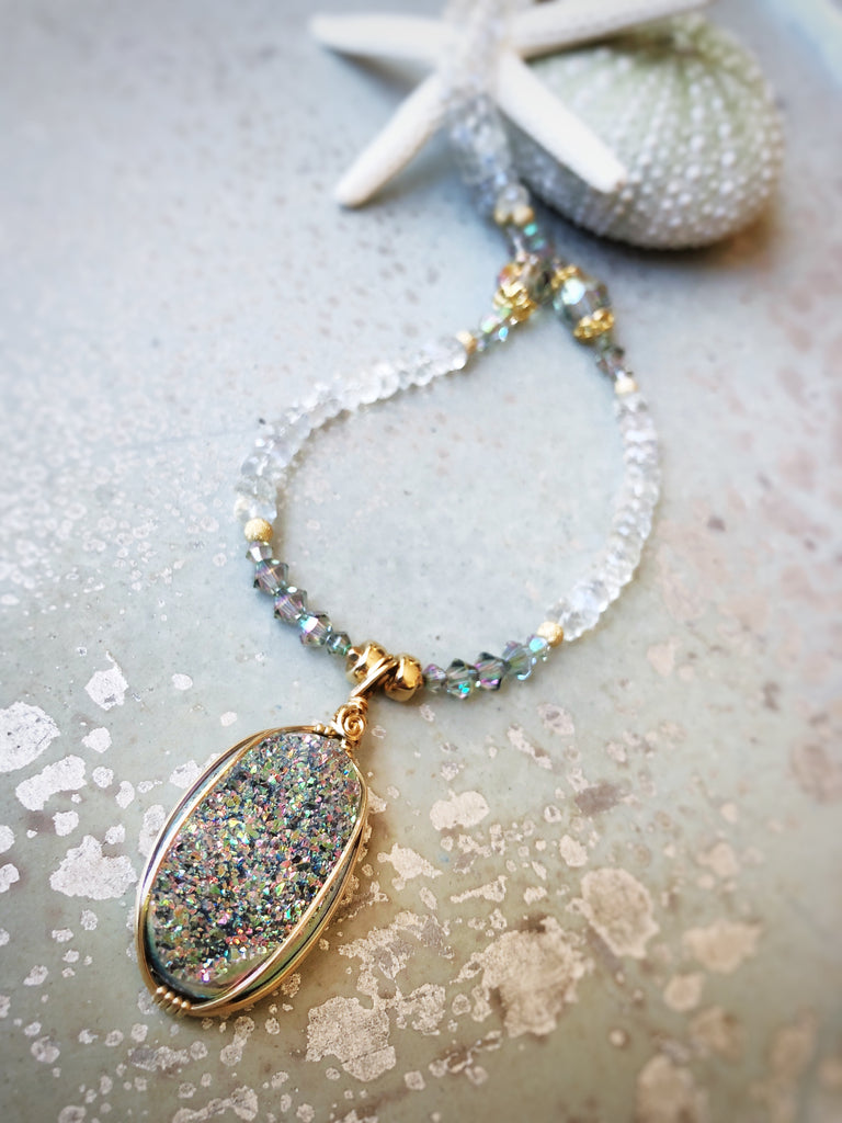 Drusy Crystal Necklace with Rainbow Moonstone #209