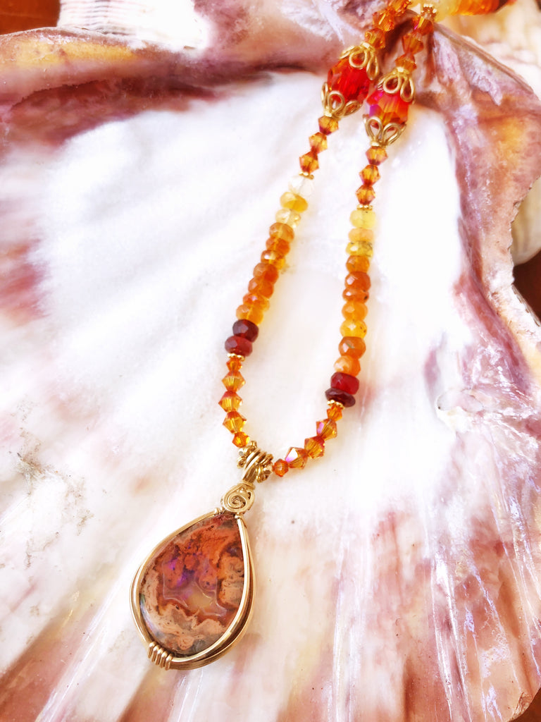 Fire opal Necklace  #207