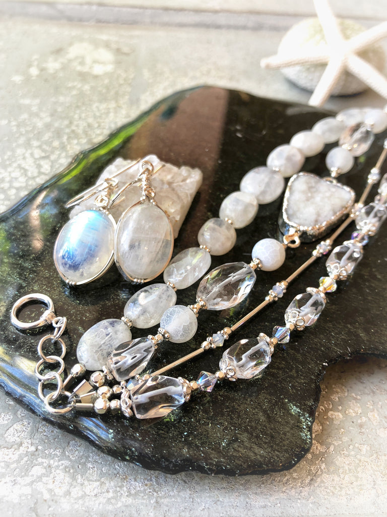 Rainbow Moonstone Bracelet  & Earrings  #217