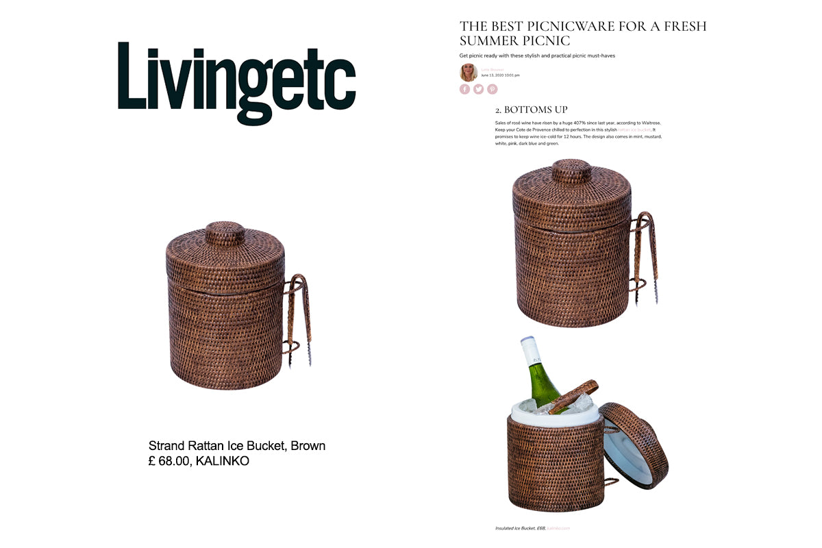 Strand Rattan Ice Bucket in Brown