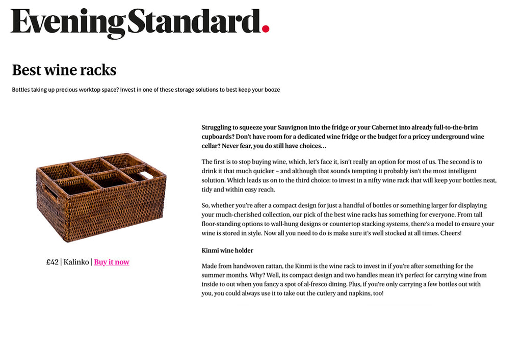 Our Kinmi Bottle Holder featured in the Evening Standard's shortlist of the Best Wine Racks