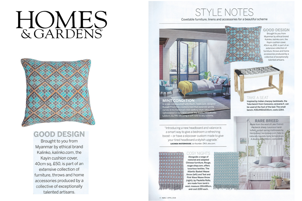Kayin Cushion featured in Homes & Gardens Magazine