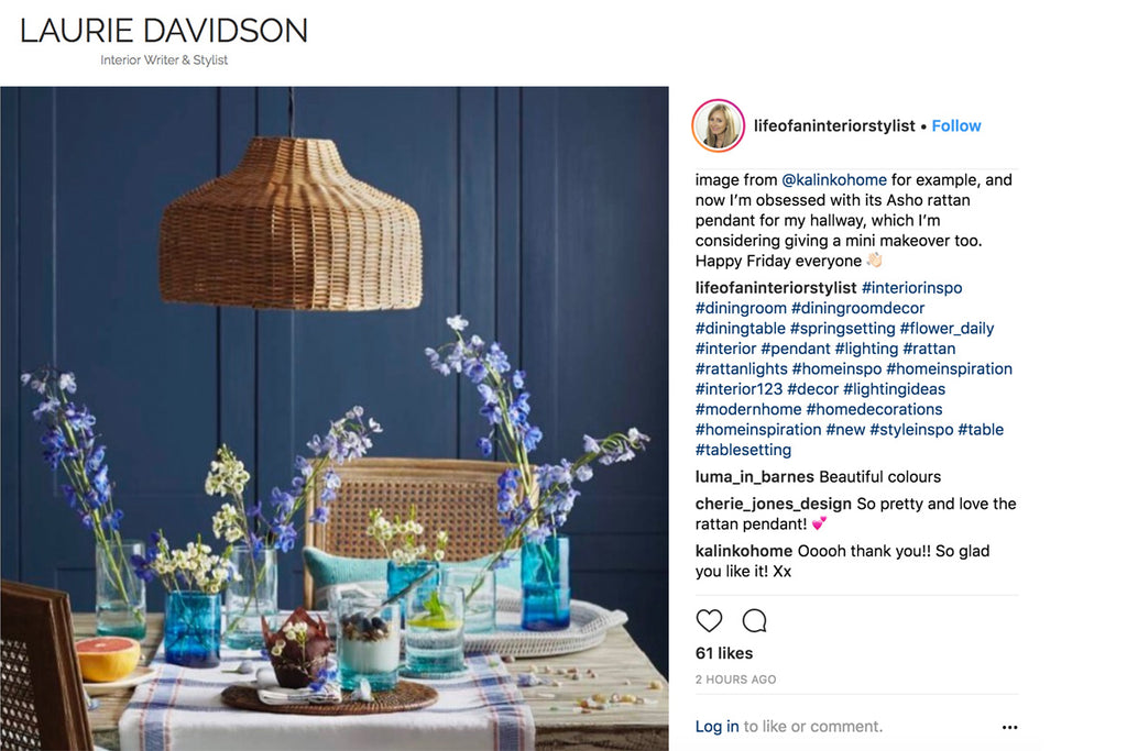 Kalinko's Spring Shoot featured on Laurie Davidson's Instagram Feed