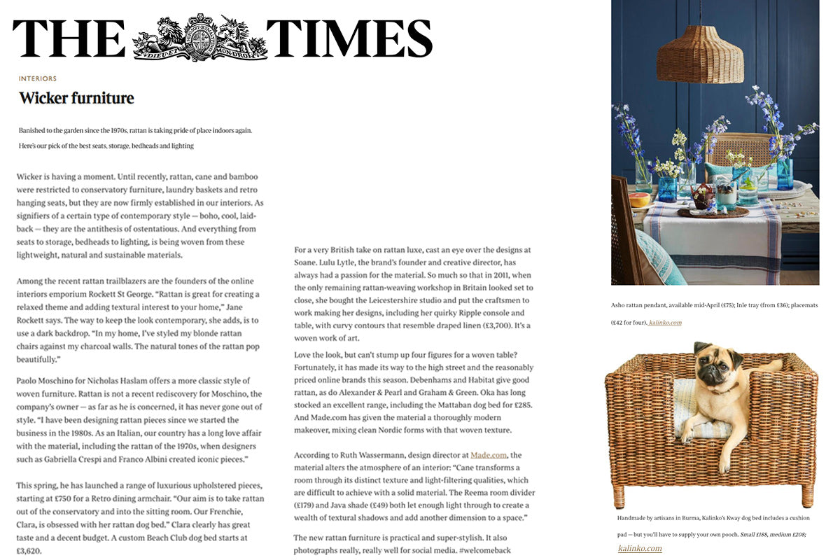 Our Kway Dog Bed and Spring Shoot featured in The Times