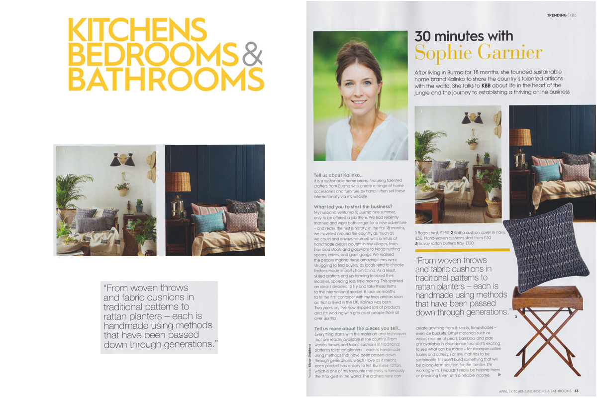 Sophie featured in Kitchens, Bedrooms and Bathrooms Magazine.