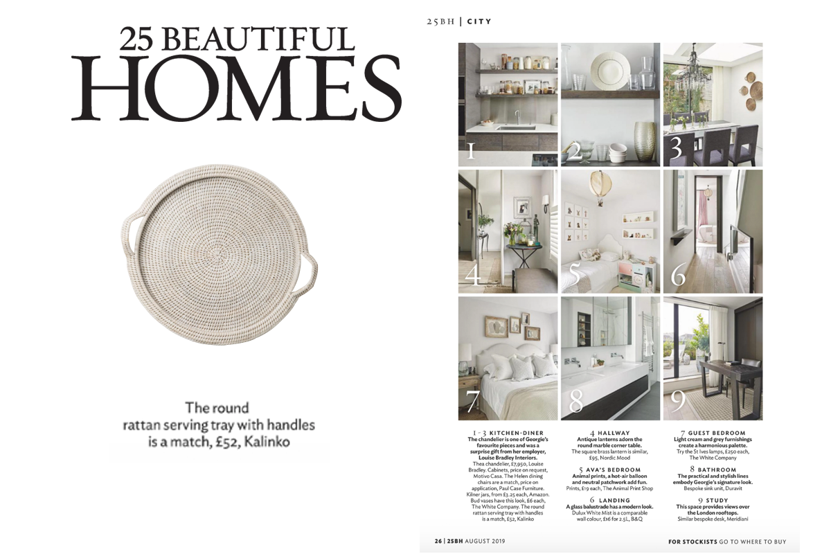 The Round Rattan Tray in White mentioned by client featured in 25 Beautiful Homes Magazine