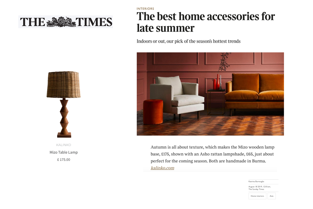 Our Mizo Table Lamp featured in The Times Magazine