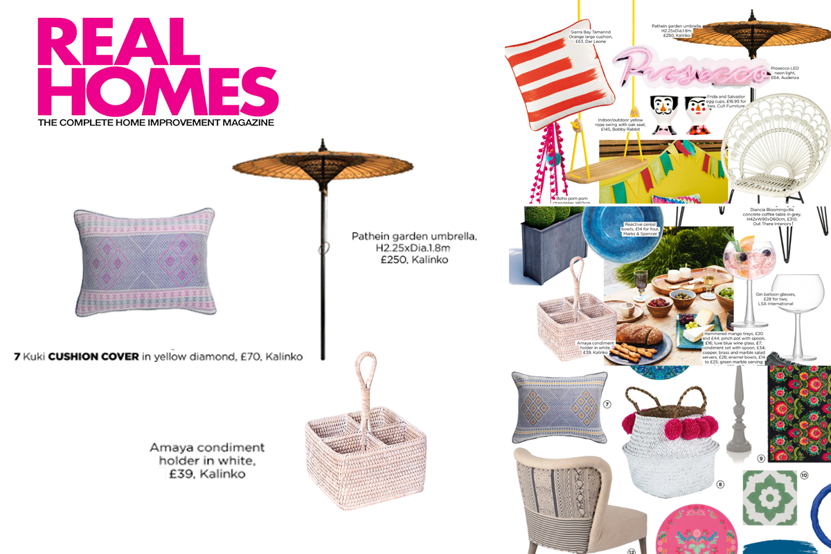 Our Kuki Cushion Cover, Pathein Garden Umbrella and Amaya Condiment Holder featured in Real Homes Magazine