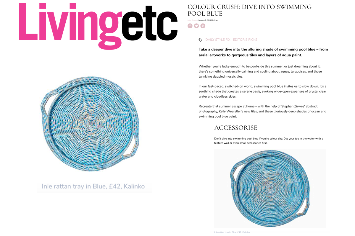 Our Inle Tray in Living Etc Magazine