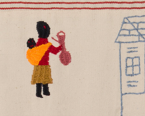 Embroidery of baby in a sling