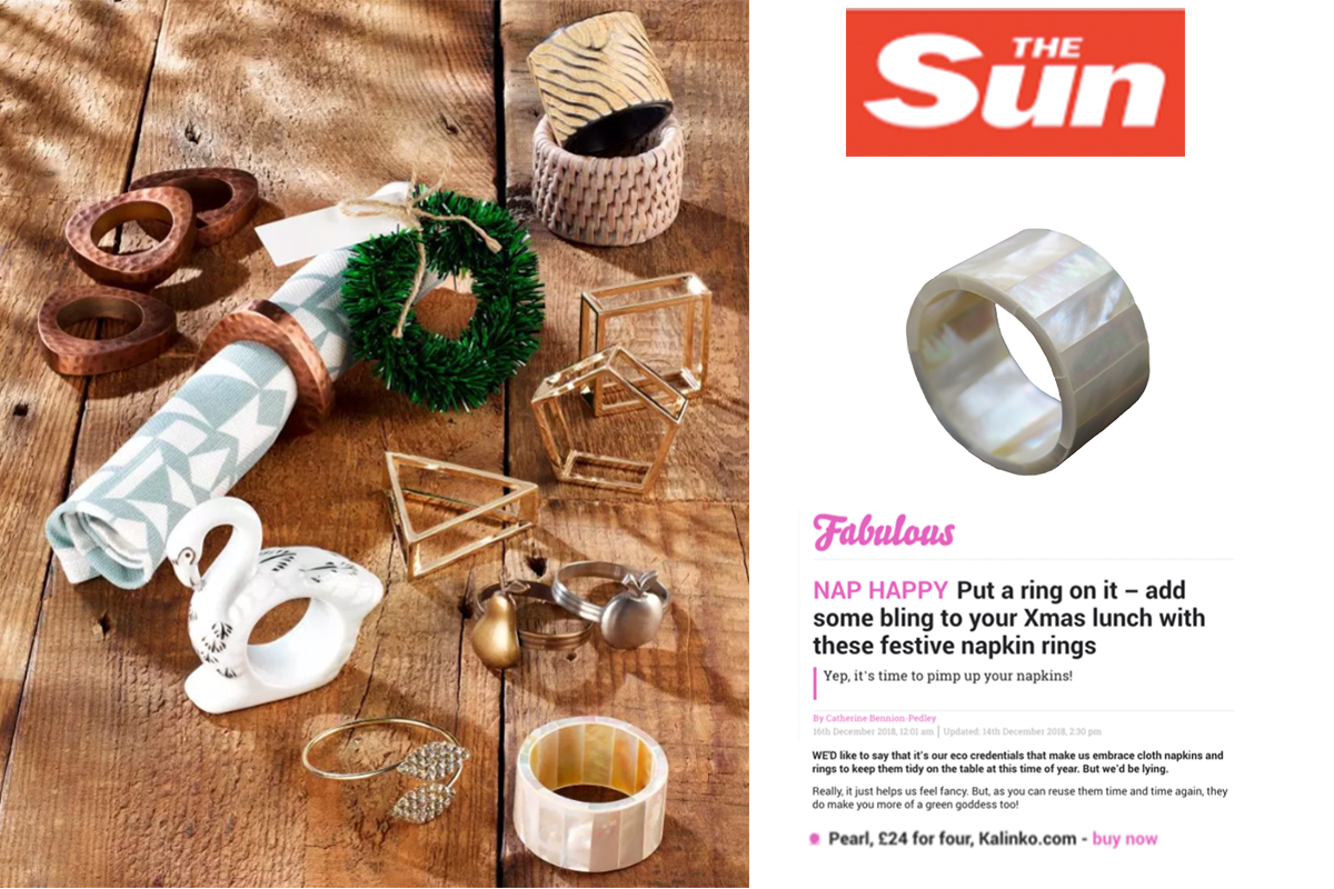 Our Minshin Napkin Rings featured in Fabulous Magazine and on TheSun.co.uk