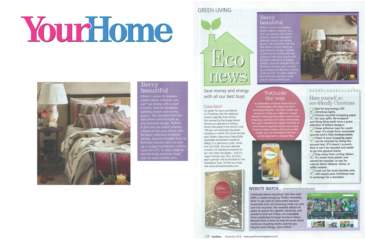 Our Cushions and Bedspreads featured in Your Home Magazine