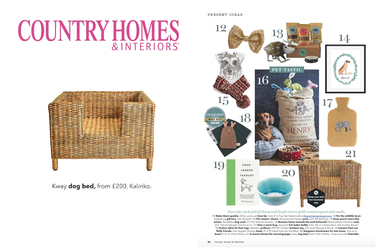 Our Kway Dog Bed featured in Country Homes & Interiors Magazine